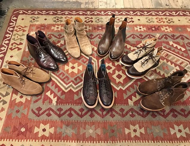 Lots of great shoes and boots for the season are in the shop!🍁🍂🌾🧡 In order;  #trickers monkey wrench boots  #visvim brown suede boots #visvim two toned boots #humanscales classic chelseaboots #saintlaurent light suede boots #carmina cordovan lace ups #carmina tan suede shoes