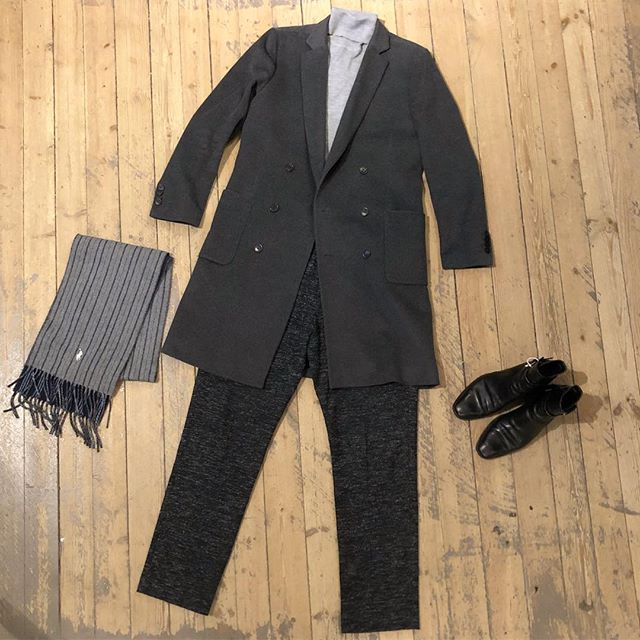 Good morning, everyone! Come and keep warm with us in the shop today! Open 11-18. Dm for details! ——— Coat by #tigerofsweden  Turtleneck by #roseandborn  Pants by #damirdoma  Scarf by #ralphlauren  Shoes by #saintlaurent