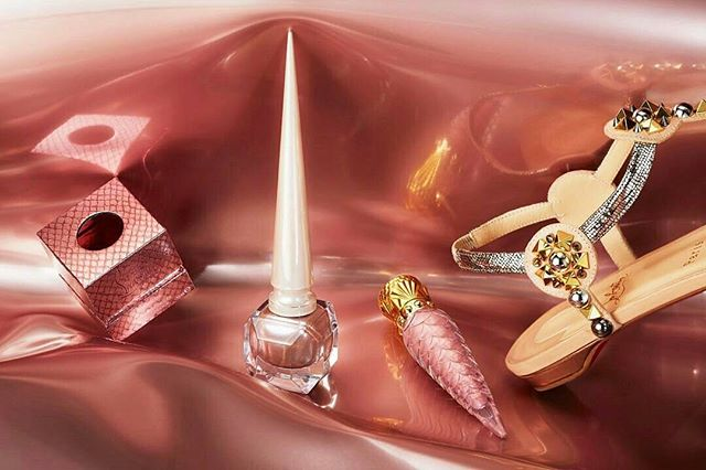 from @louboutinworld -  Infused with warmth and light, Christian Louboutin offers a brighter take on metallics with Metalinudes. Three hues enriched with chrome-like pigments give nails and lips a long-lasting and sensual finish. #BeauteLouboutin📸@guillaumefandel - #cosmetic #commercial #studio #still #life #photography