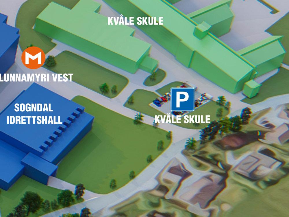 Parkering Kvåle Skule - Beste parkering om du skal til:Kvåle Skule, Sogndal Idrettshall