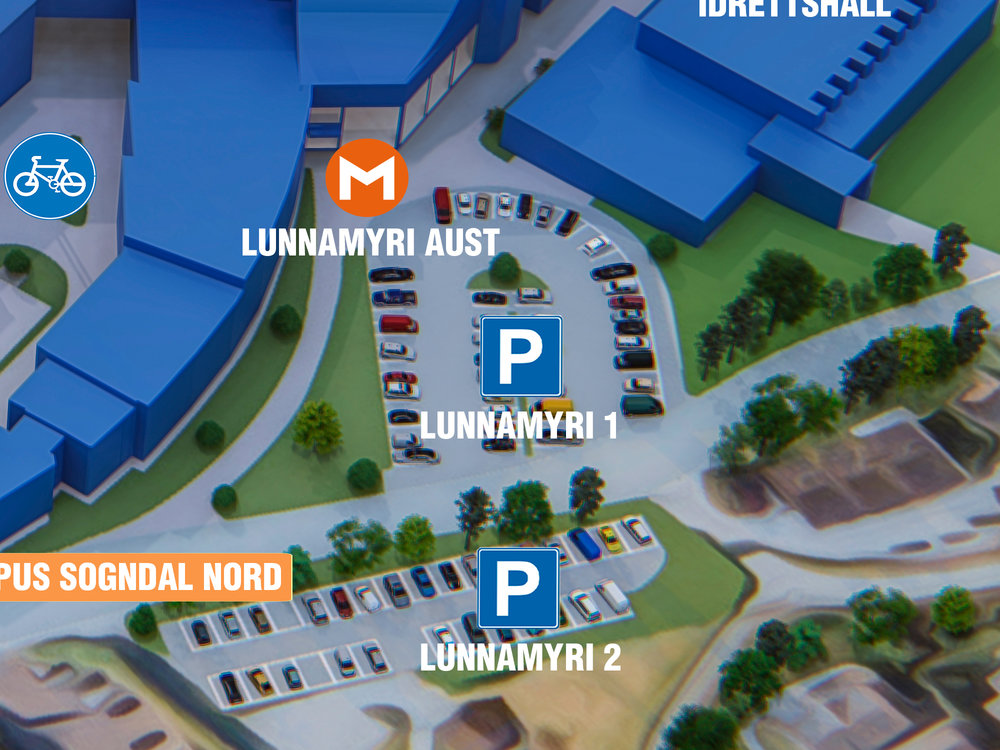 Parkering Lunnamyri 1 - Beste parkering om du skal til: Sogndal vidaregåande skule, Sogndal idrettshall