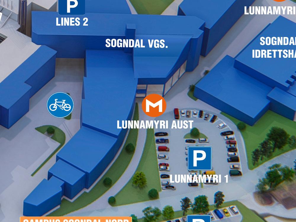 Lunnamyri Aust - Dette er møteplassen ved hovudinngangen til Sogndal vidaregåande skule. Skal du til Sogndal idrettshall, er dette også ein naturleg møteplass.