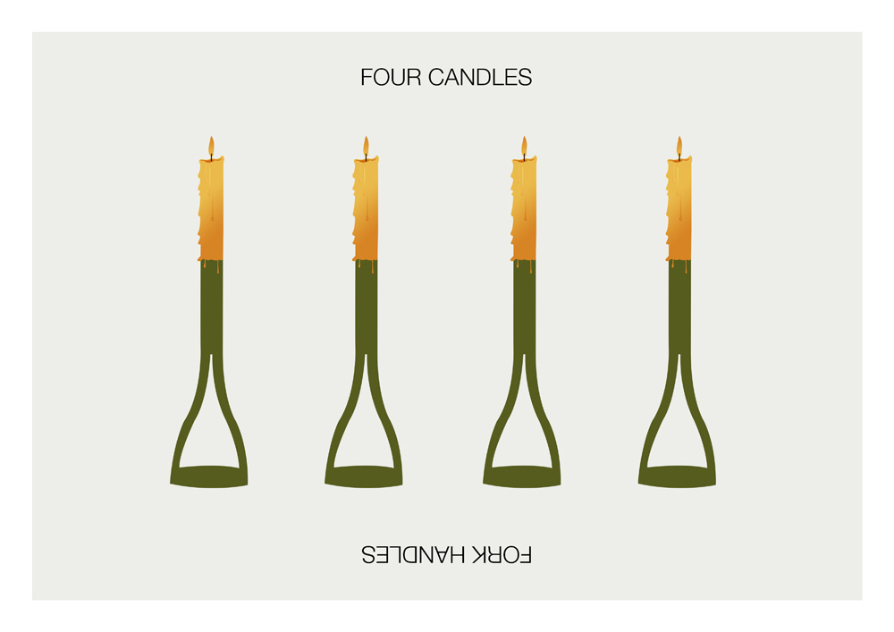 Minimalist household - Four Candles Fork Handles Sketch Poster Posteritty