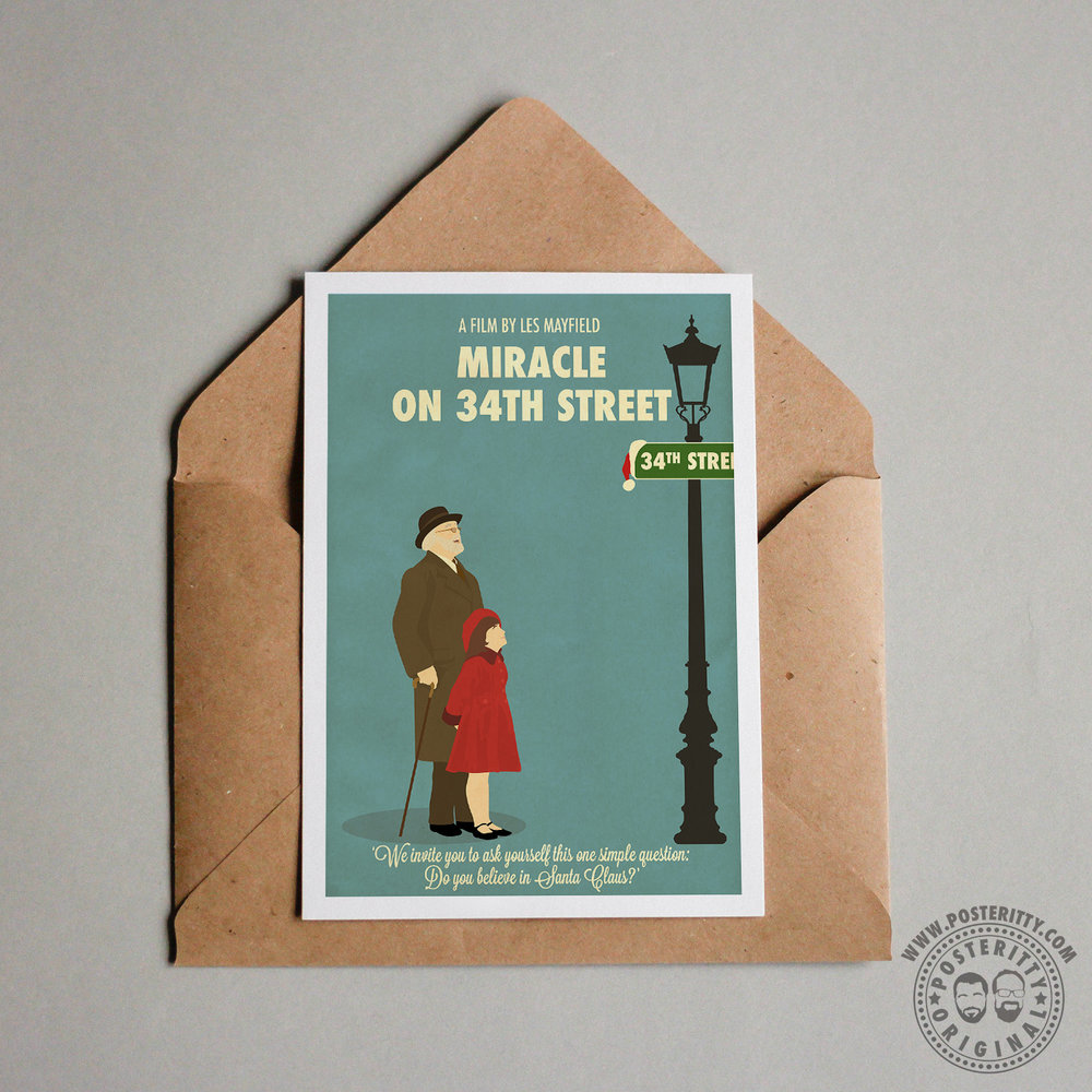 miracle on 34th street minimal christmas card posteritty
