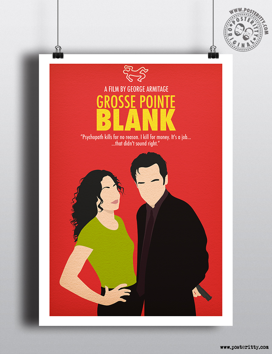 grosse pointe blank minimalist movie poster posteritty. Black Bedroom Furniture Sets. Home Design Ideas