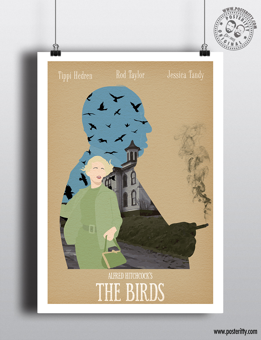 alfred hitchcock film poster the birds the birds poster print minimalist movie poster The Birds film poster A3A4 movie poster