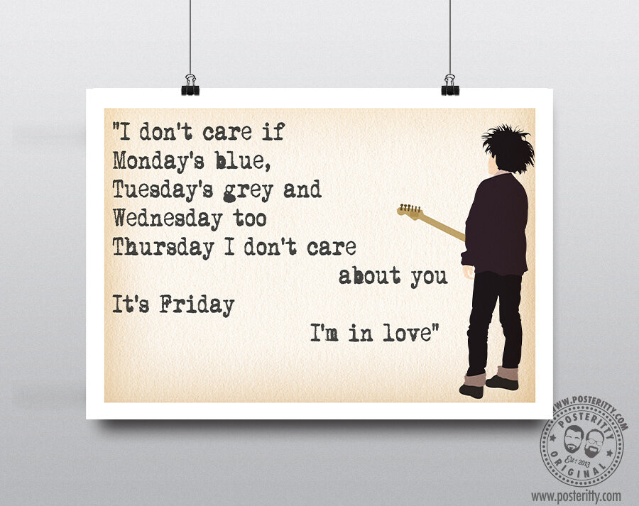 The Cure Lyrics Friday Im In Love Minimalist Poster Posteritty