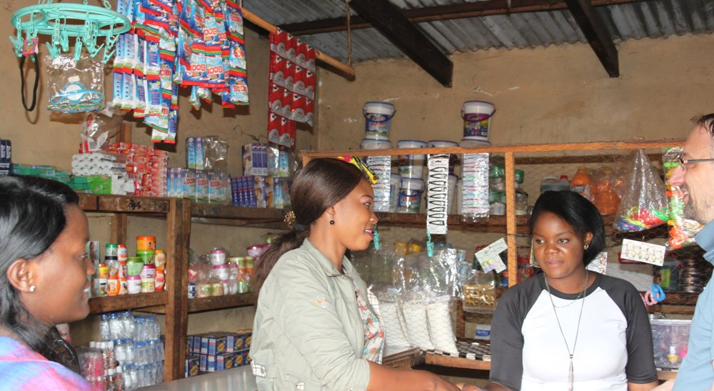 Three women partnered in opening a shop with many different goods