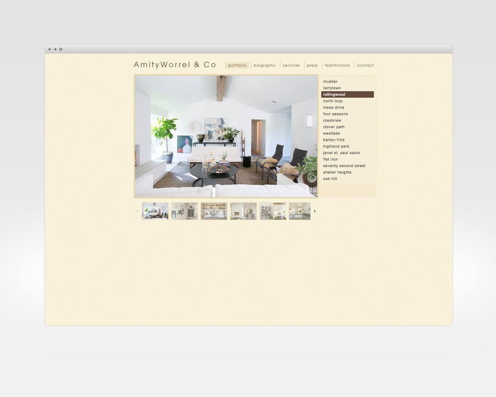 amity worrel   design, ux, development   Portfolio site for Austin-based interior designer.   View Project