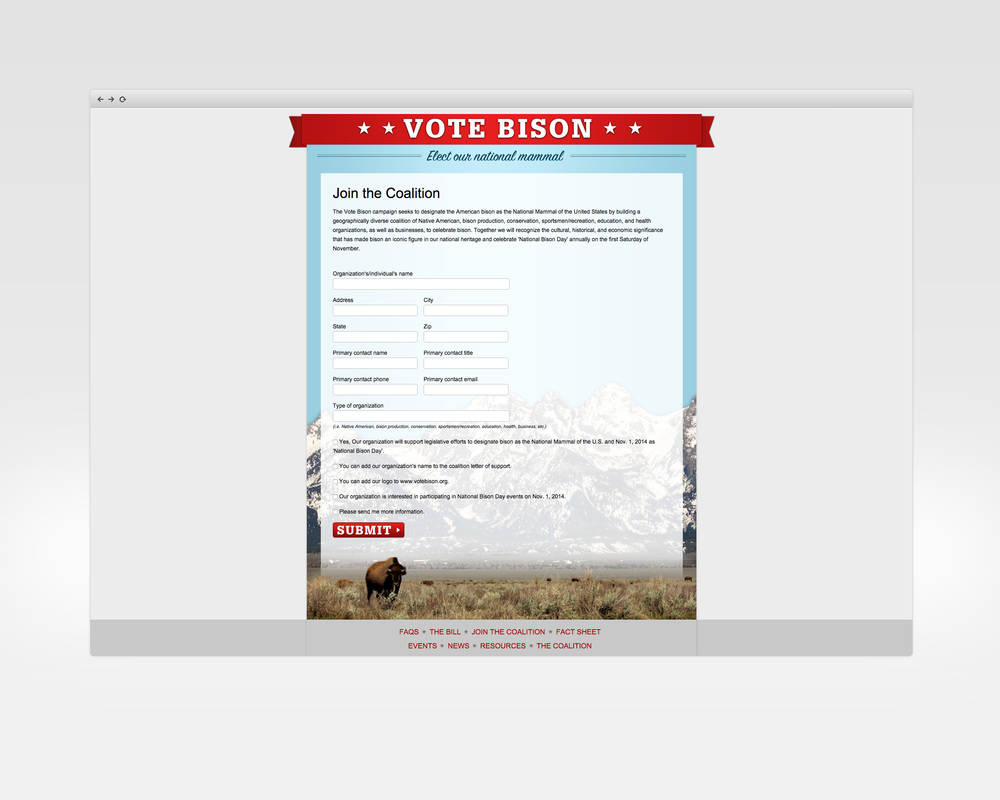 vote bison   design, ux, development   Microsite to support effort to create a federal designation of bison as the national mammal.   View Project