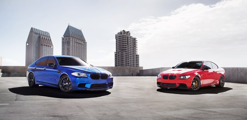 Red and Blue BMW M3 and M5
