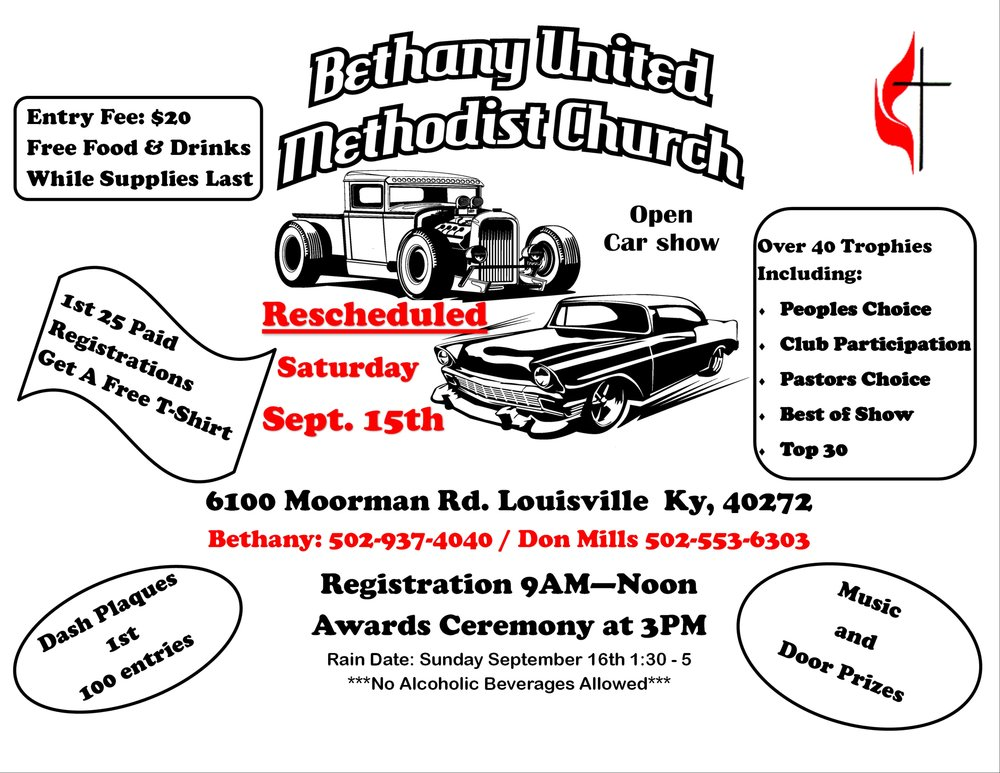 Th Annual Open Car Show Bethany United Methodist Church - Car show louisville ky