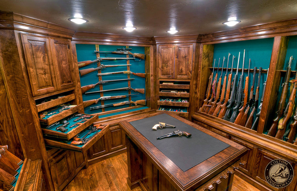 Gun rooms cabinetry julian sons fine woodworking for Gun vault room
