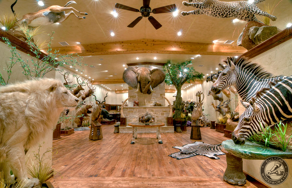 Wild animal themed man cave