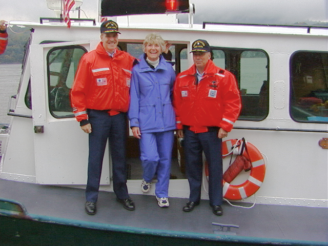 USCG Captain Daniel R. Croce, Congresswoman Sue Kelly & USCG Commander Jim L. Munro on Launch 5 at West Point
