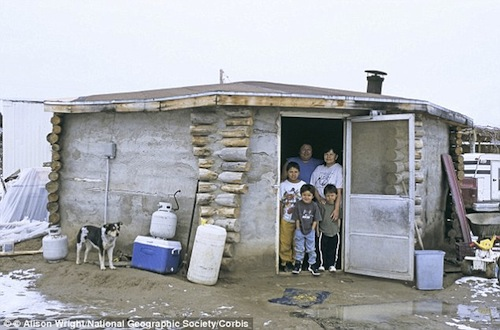 Impoverished family living on the Navajo Reservation.