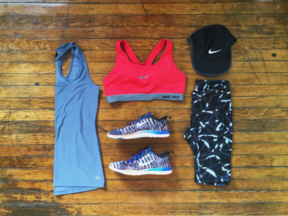 (1) Tank: RBX  (2) Sports Bra:Nike (3) Shoes:Nike (4) Hat:Nike (5) Shorts: Old Navy