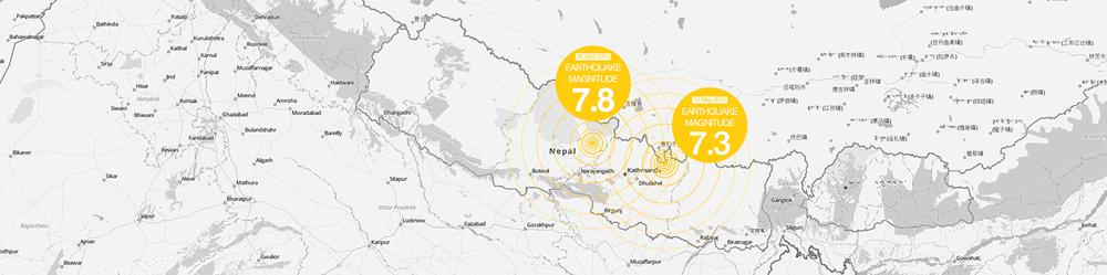 Epicentri dei due terremoti in Nepal