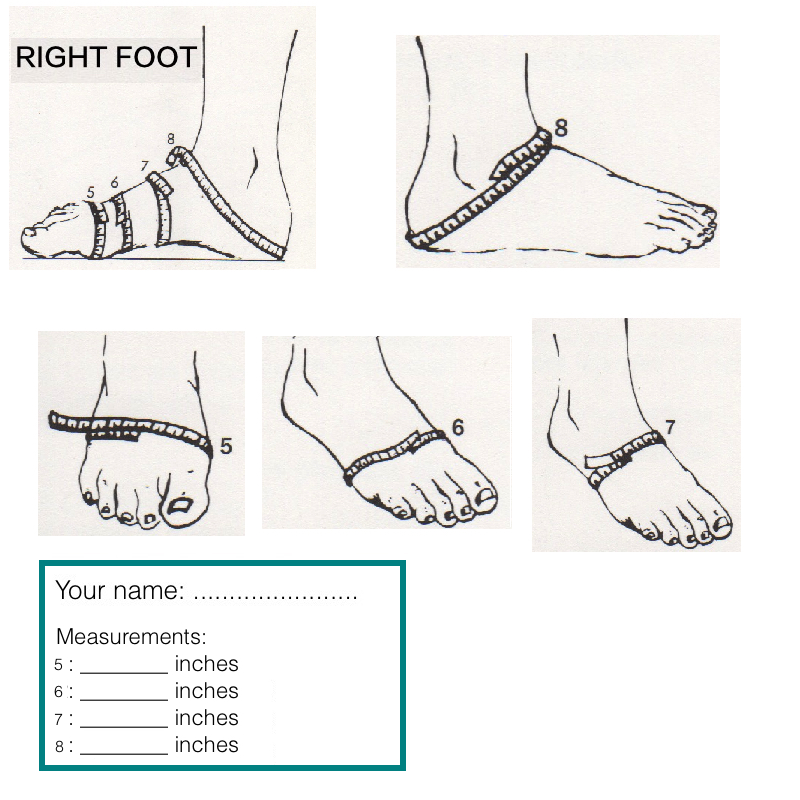 Measurements 5 to 8 of your right foot