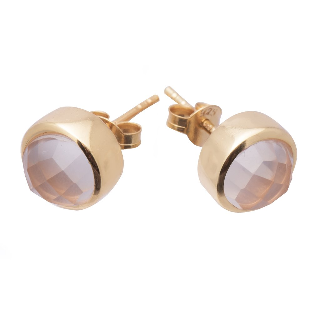 The Emerge Studs are stunning earrings that feature a 7mm faceted Rose Quartz, Tourmalinated Quartz or Aquamarine.