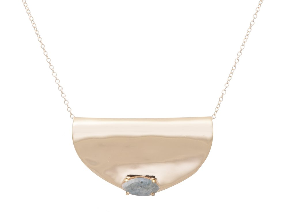 """The Lucidity Necklace in gold with an Aquamarin in claw setting - choose out of two chain length options: 20 or 36""""."""
