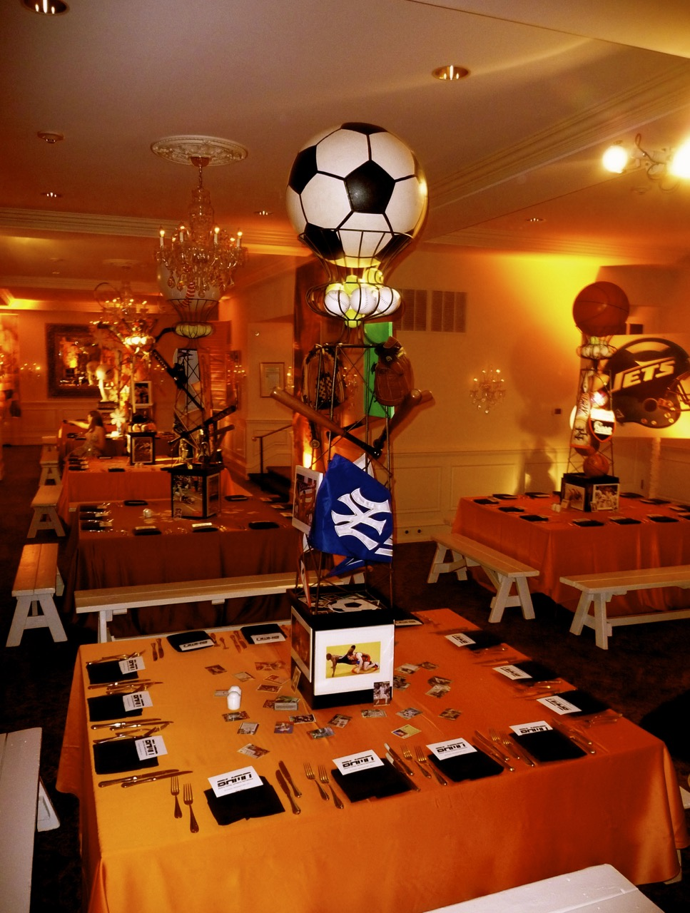 Sports theme gallery eggsotic events sports theme centerpieces decor and lighting by eggsotic events nj event design and decor rental junglespirit Gallery