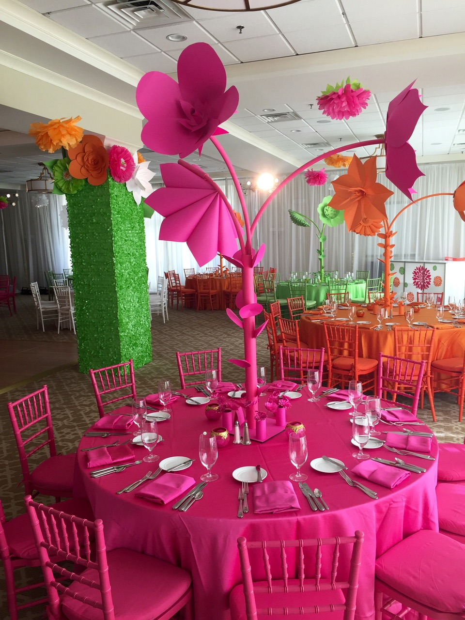 Paper Flower Centerpiece Pink Orange Green Color Scheme Bat Mitzvah Decor Crestmont Country Club - Eggsotic Events NJ NYC Event Design Custom Decor  - 1.jpg