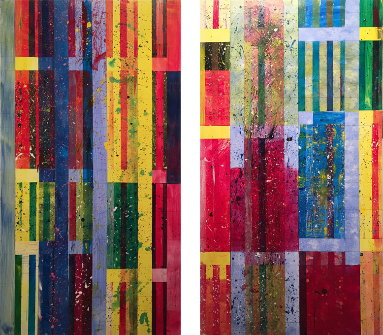 "Burning Rain 1 & 2.   Acrylic on board, 2 panels 24"" x 48"" each. May 2015"