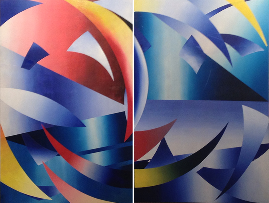 "Arcs 3.  2 panels, oil on board, 30"" x 48"", May 2013"