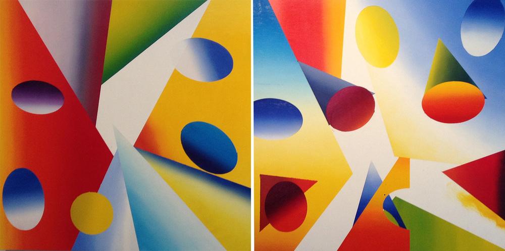 "Untitled. Oil on board, 2 panels, 24"" x 24 each, 2014"