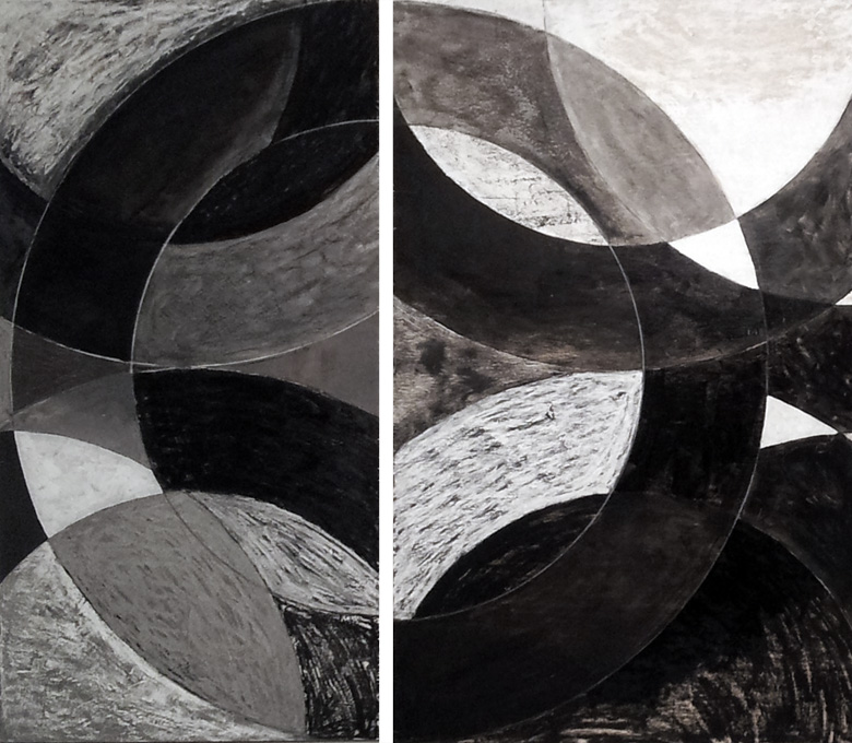 Maker.  Oil on board, two panels, 2012