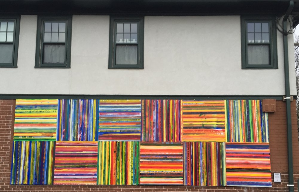 Tuli's Song.   Oil on board, 20' x 4', installation on building in Westville, Connecticut, December 2015