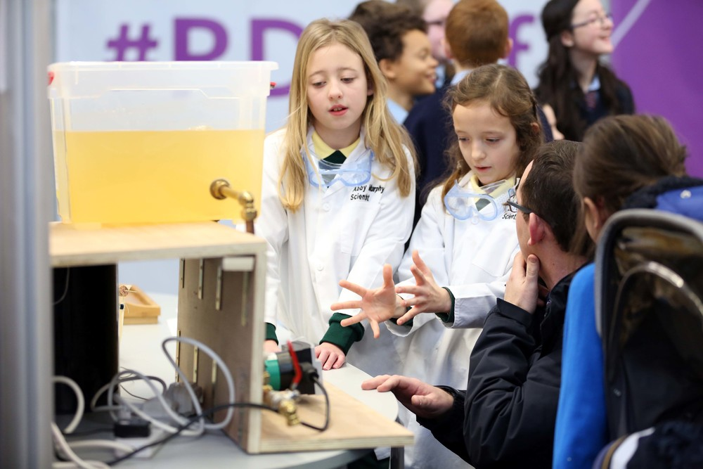 "Students from Mahoonagh NS in Co.Limerick present their experiment examining ""what local water source has the hardest water?"" at the RDS Primary Science Fair Limerick"