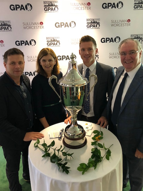 Partnership Board member and former All-Ireland winner Dessie Farrell, Partnership CEO Mary Sugrue, GPA CEO Paul Flynn, and Partnership Board member Aidan Browne.