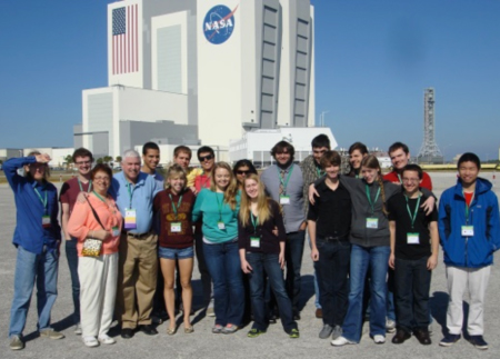 Doc Feller takes a group to the Kennedy space center.