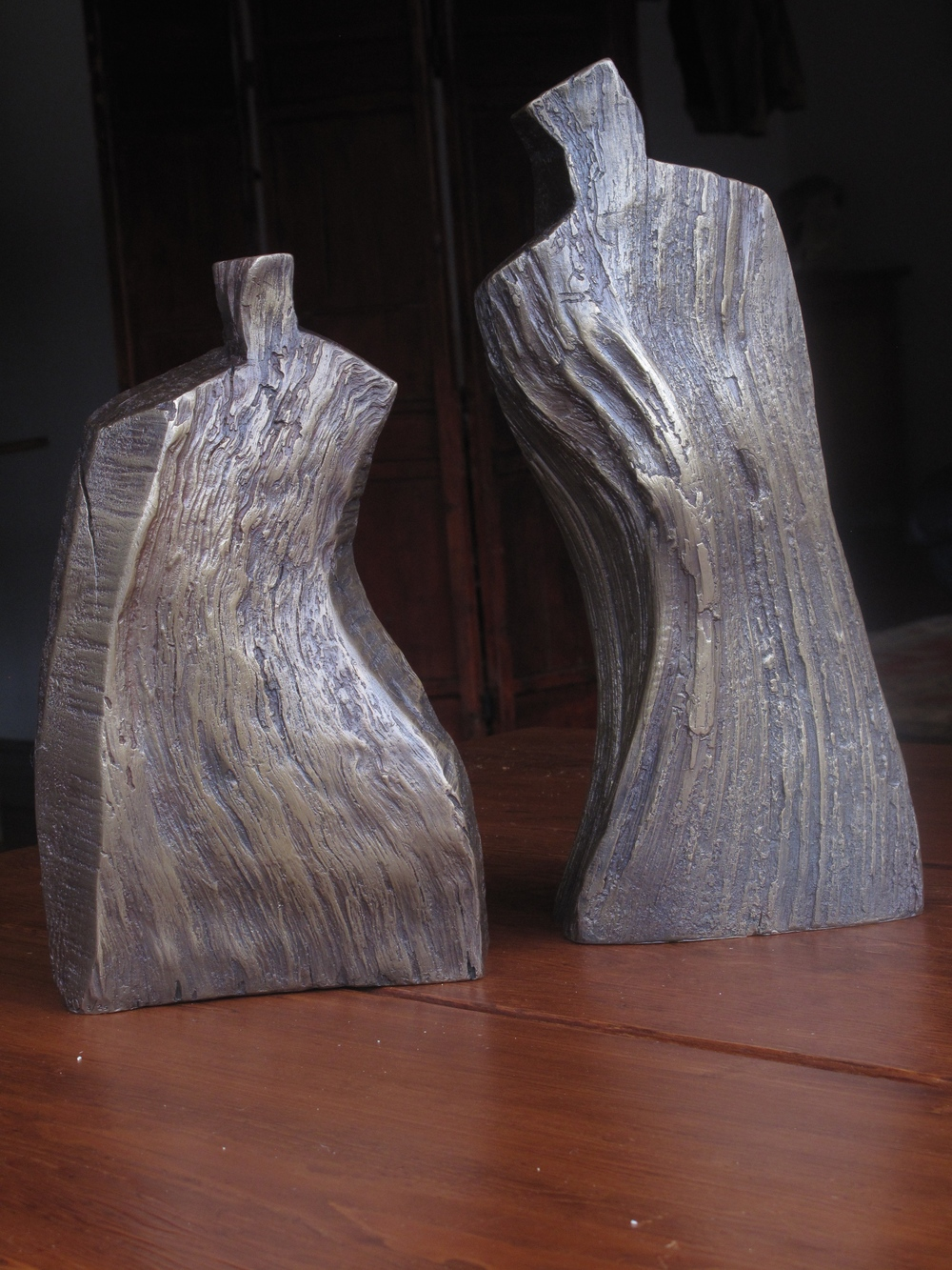 Ancestral Couple, bronze, 17 in
