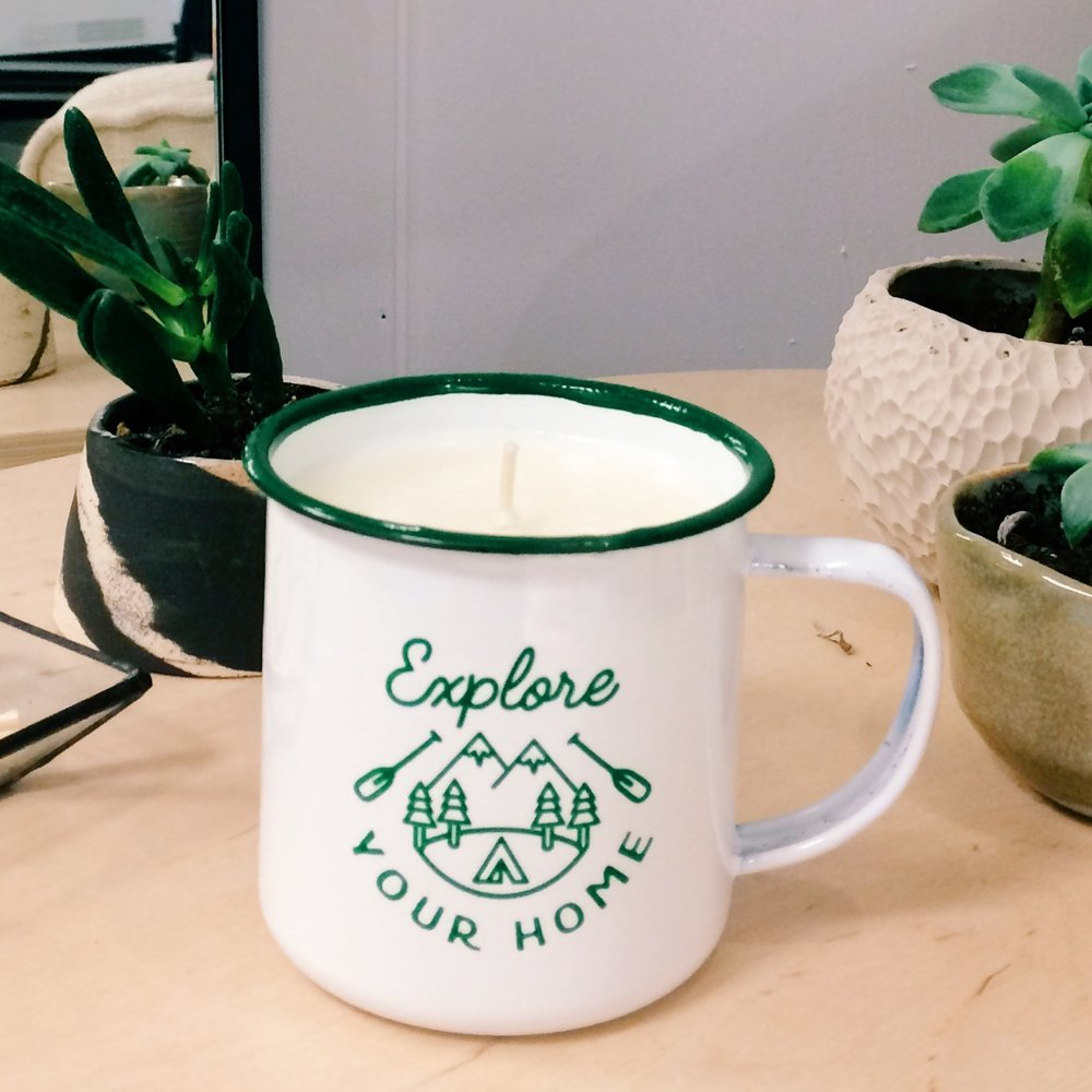 MY HOME APPAREL BALSAM FIR A scent reminiscent of a day spent outside among the trees and fresh air. Made in My Home Apparel's own 'Explore Your Home' mugs. Keeping you cozy by candlelight and the hot drinks you fill them with afterward
