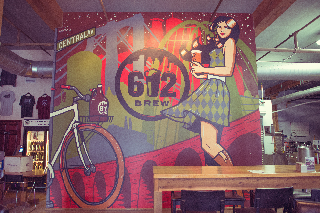 612Brew Tap Room Mural 2013 - Northeast Minneapolis, MN - Photo credit: Heavy Table