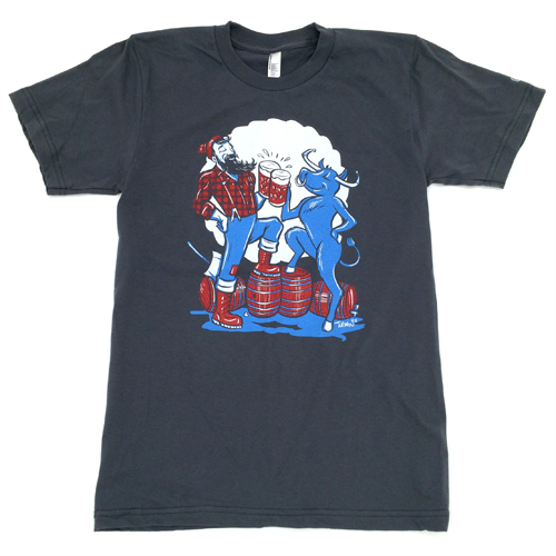 Paul & Babe - Cheers American Apparel 2001 100% Ring Spun Cotton White, Blue, and Red on Asphalt Shipping to the US only