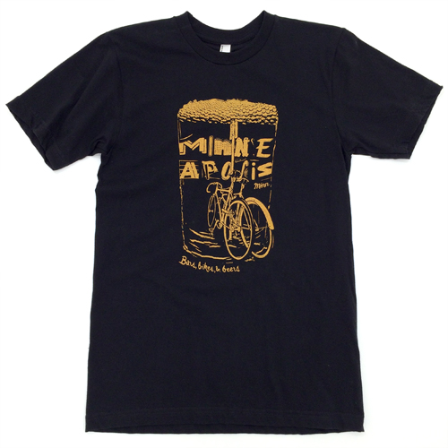 Bars, Bikes, & Beers American Apparel 2001 100% Ring Spun Cotton Golden on Black Shipping to the US only