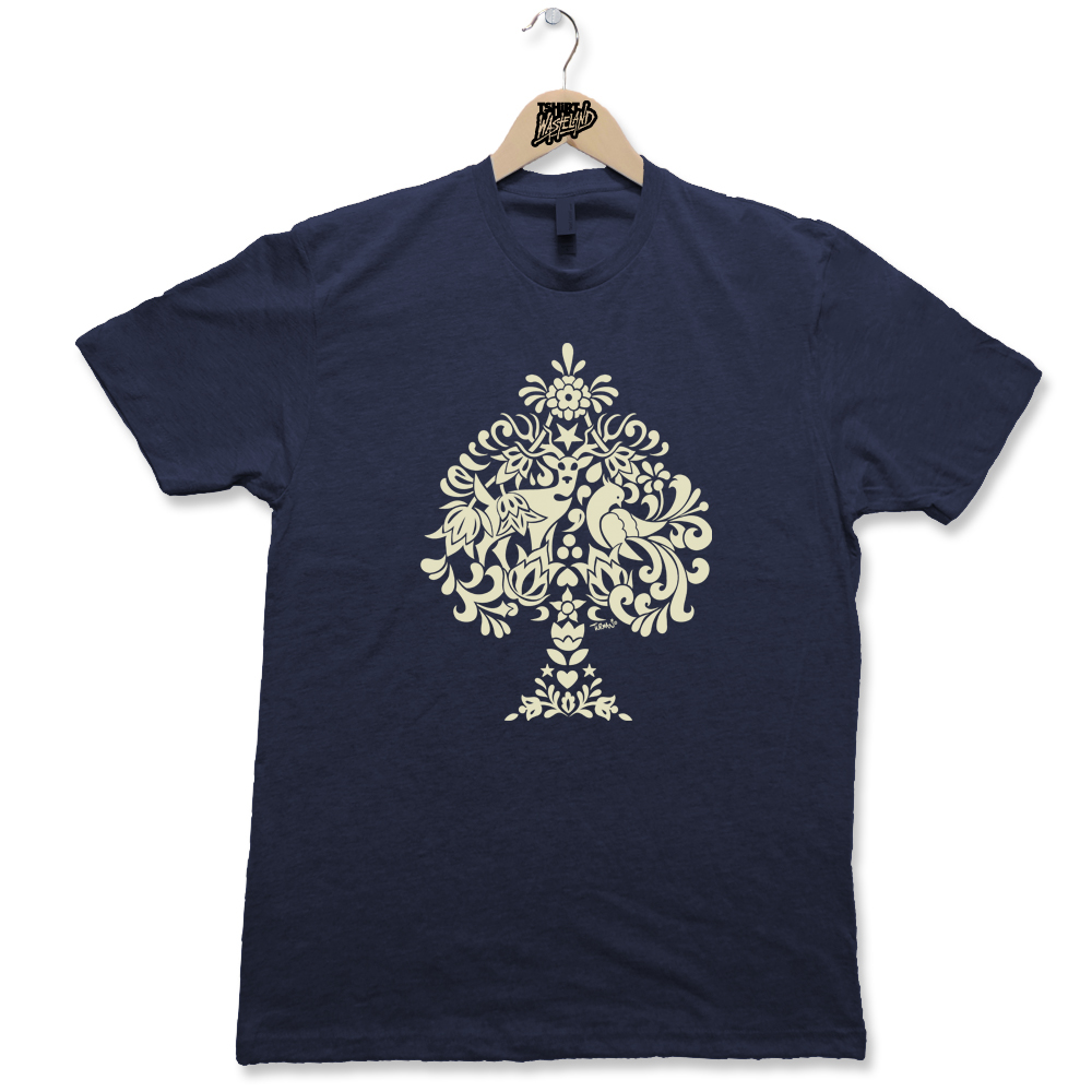 Ace of Spades Screenprinted Light weight premium tee Available on Heathered Cardinal, Heathered Expresso, Heathered Midnight Navy, and Heathered Military Green