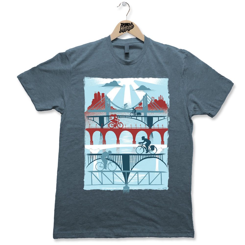 Bridges Screenprinted Light weight premium tee Available on Heathered Gray, Charcoal Heather, Sage Heather, and Indigo Heather