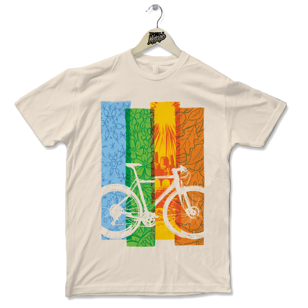 Bike Seasons   Screenprinted Light weight premium tee Available on Cream. Banana Cream, Light Blue, and White