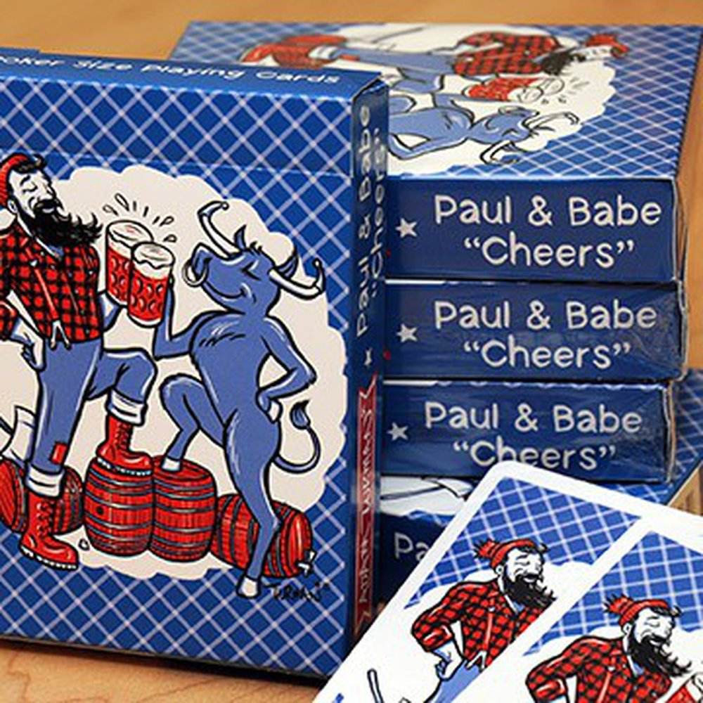 "Paul & Babe ""Cheers"" Poker Cards   High-quality premium linen Poker-sized playing cards with custom backs, suit face, Ace of Spades, Joker, and instruction cards. These cards are the real deal, they are printed on the same material as any other traditional playing card. They feel, shuffle, slide, and play extremely well."