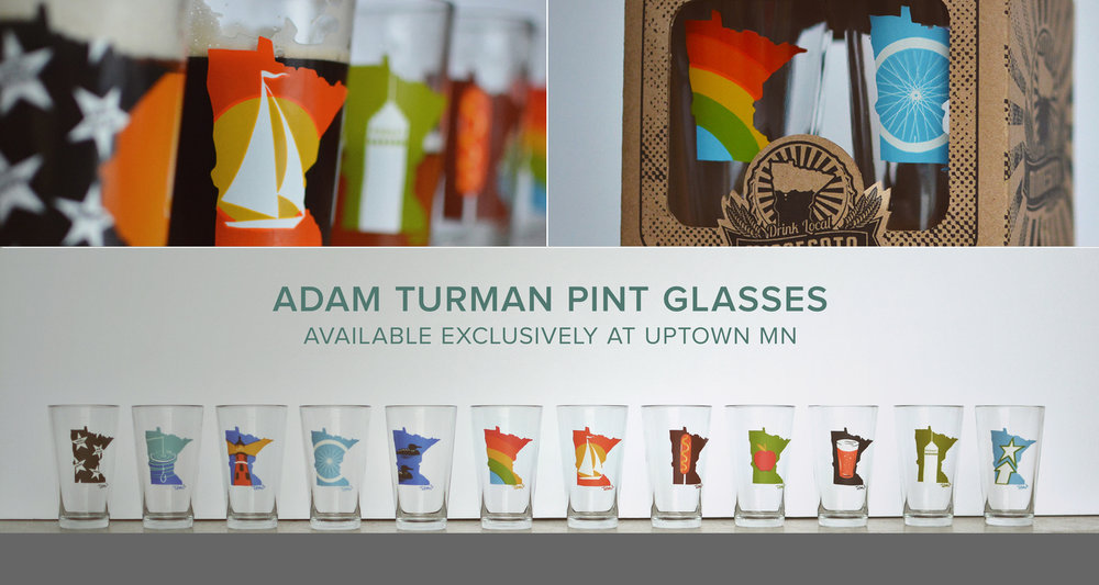 MN Months Pint Glasses Mix and Match 4 of your favorite glasses! Inspired by our MN Months illustration, Uptown MN has transferred this fantastic screen print to a series of pint glasses. Uptown MN also offers Bars, Bikes, & Beers, MN Abbey Road, and Paul & Babe Cheers on pints!