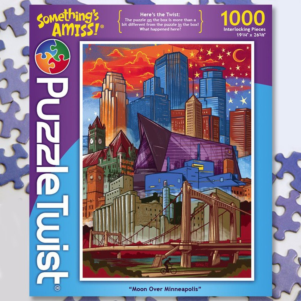 Moon over Minneapolis 1000 Piece Jigsaw Puzzle Random Cut Here's the twist: The puzzle ON the box is more than a bit different from the puzzle IN the box!