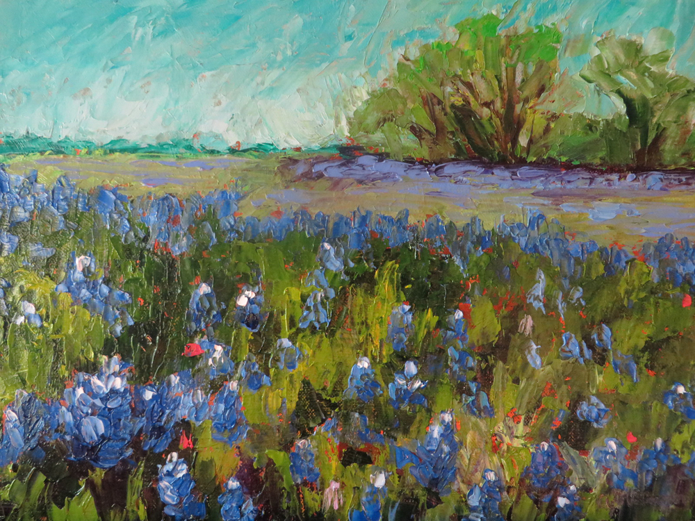 Deep in the Bluebonnets 9 x 12 Oil by Ann McCann ©2015