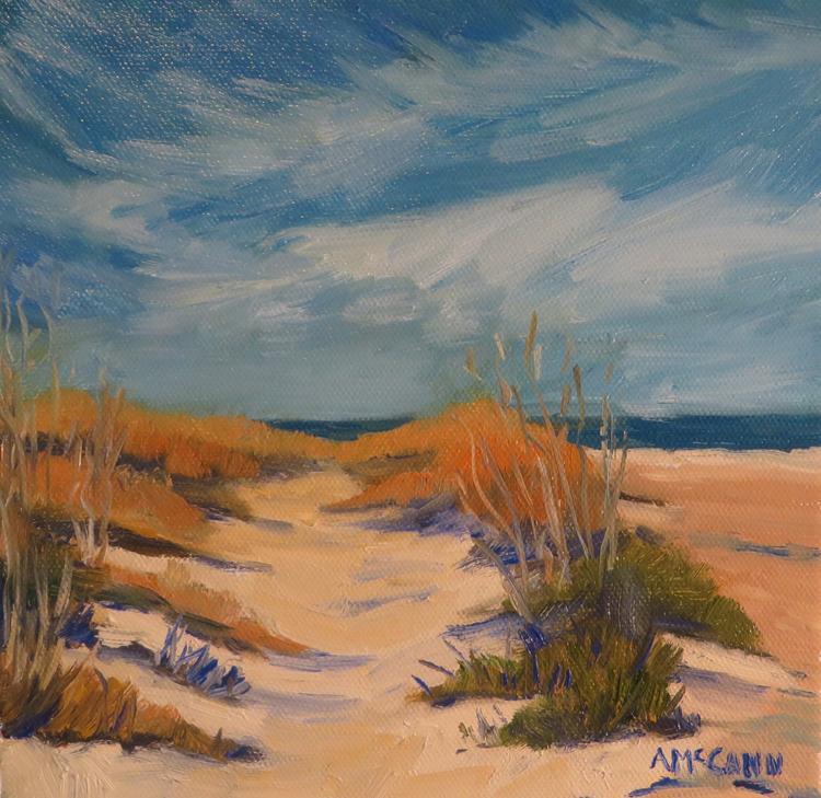 Winter Beach 8 x 8 Oil by Ann McCann ©2015