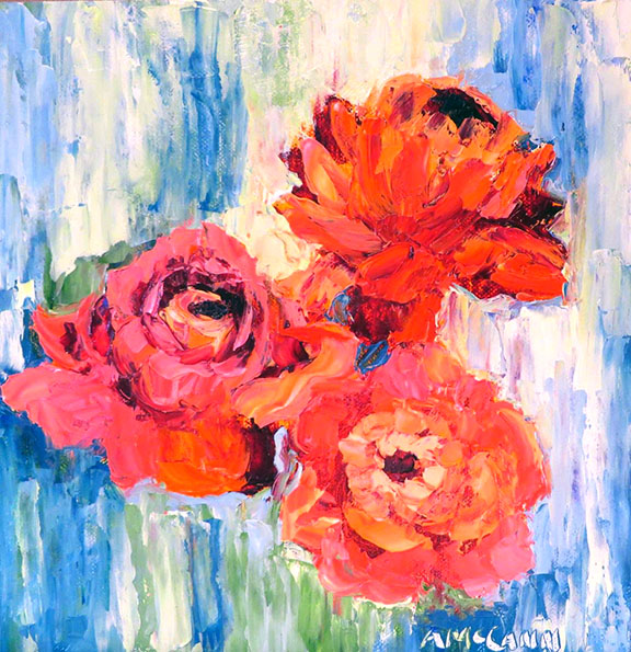 Abstract Roses 8 x 8 Oil by Ann McCann ©2015