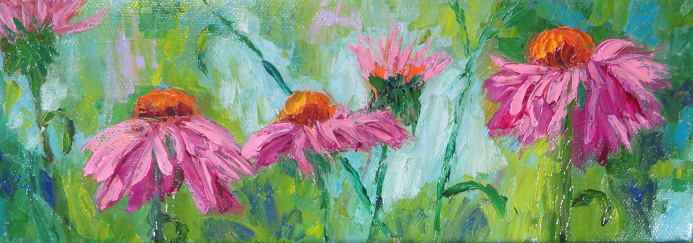 Cone Flower Fantasy 12 x 4 Oil by Ann McCann ©2015
